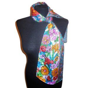 1960s Vintage Scarf coloful floral print